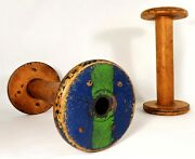 Late 19th C Antique Pair Industrial Textile Wood Bobbins, W/orig Painted Tops