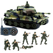German Tiger I Panzer Rc Tank Sound Rotating Turret With American Soldiers Toys