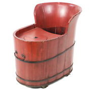Antique Chinese Red Child's Baby Feeding Chair Stroller Tub