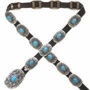 Navajo Old Pawn Patterned Sterling Turquoise Concho Belt