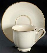 Lenox Courtyard Gold Set Of 13 Footed Cups 4 Saucers Ivory Usa