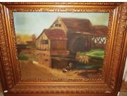 Antique Folk Art Landscape Painting - Mill And Boy With Toy Boat Ship