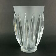 Lalique Crystal Glass Courchevel Frosted Fluted Vase