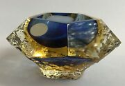 Mandruzzato- Lime Mint And Blue Faceted Ice Sommerso Pentagonal Ashtray/bowl Glass
