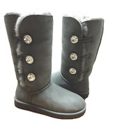 Ugg Exclusive Bailey Button Bling Charcoal Triplet Tall Boot Us 7 /eu 38 / Uk5.5