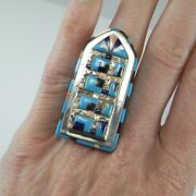 Huge Big Inlaid Old Pawn Native American Ring Sterling Silver Unisex Cathedral