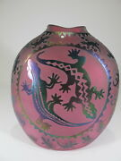 Vintage Pink Glass Vase With Lizards Applications D8888