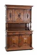 Antique French Renaissance Style Carved Buffet Sideboard Cabinet