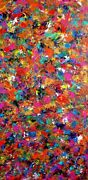 Large Colorful Original Abstract Painting Acrylic Carnival 24x48x1
