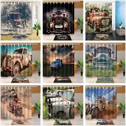 Vintage Truck Old Car Tractor Culture Fabric Bath Shower Curtains And Mat Set