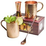 Moscow Mule Copper Mugs With Double Sided Copper Shot Pourer Stir Spoon Gift Set