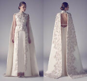 High Neck Arabic Wedding Evening Dress Applique Long Formal Pageant Prom Gowns