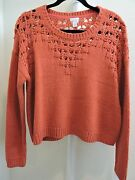 Hinge 100 Acrylic Red Apple Crop Scoop-neck Sweater - Size - Large