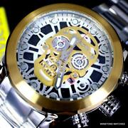 Corduba Skull Collection Chronograph 50mm Gold Two Tone Steel Watch New
