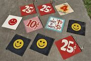 Lot Of 10 Original Vintage Midway Carnival Circus Folk Art Signs Old Wooden