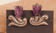 Antique Taxco Sterling Silver And Amethyst Floral Screwback Earrings C.1940s 1