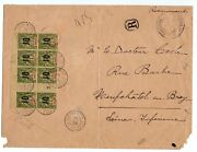 1920 Mayotte To France Reg Cover Block Of 8 With Millesimes Unique