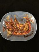 Avraham Gofer Israel Mid Century Glazed Ceramic Plate With Abstract Rooster