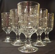 6 Anchor Hocking Tartan Clear Water Goblets Glasses 17oz.