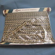 Vintage 1999 Conso Upholstery Trim Braid Scallop Fringe Black Beige Marquise