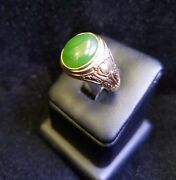 Rare Vintage Menand039s 14k Yellow Gold Oval Jadeite Cocktail Ring Size 9.5 Jewelry