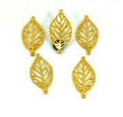 Leaf 14k Gold Connector For Jewelry Findings Pure 1 Micron Plated Hollow 2 Holes
