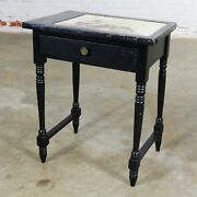 Vintage Black Turned Leg Drawered End Table With Matador And Bull Tile Insert To