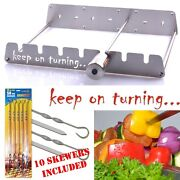 Rotisserie Kit For Gas Burner Grill With Motor Operated Rotator Up To 6 Skewers