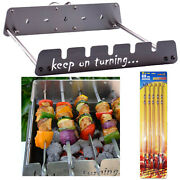 5 Skewer Motor Operated Bbq Grill Attachment Rotisserie Rack W/ Usb Connection