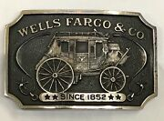 1973 Wells Fargo And Co Sterling Silver T 92 Belt Buckle Carriage Wagon 135 Gr