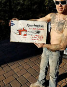Vintage Metal Remington Chain Saw Outboard Gas Oil Sign Chainsaw 20x12