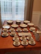 60 Pc Vintage Eschenbach Bavarian Dinnerware And Coffee Set In White And Gold