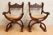 Pair Of Antique French Renaissance Dagobert Arm Chair Carved Faces