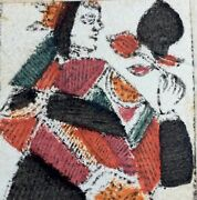 C1730 Museum Grade Woodcut Italian Ancient Antique Playing Cards Painted Single