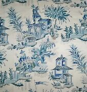 Clarence House French Chinoiserie Pagodas Toile Linen Fabric 10 Yards Blue