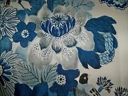 Schumacher Shabby Floral Bouquets And Peacocks Birds Fabric 10 Yards Blue Taupes
