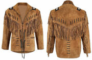 Menand039s Traditional Western Cowboy Leather Jacket Coat With Fringe And Beads