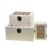 3 Size Unfinished Wood Unpainted Wooden Jewelry Gift Box Carved Storage Case