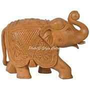 Lucky Elephant Statue Thuja Natural Carved Wooden Animal Office Decor Brand New