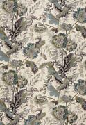 Schumacher French Indienne Jacobean Vine Floral Fabric 10 Yards Seaglass Teal