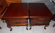 Pair Of Cherry End Tables / Side Tables By Mersman T731