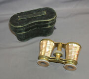Antique 1890s Lemaire Paris French Mother Of Pearl Opera Glasses In Leather Case