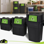 Stackable Indoor Recycling Garbage Waste Bin Trash Can Plastic / Glass / Metal