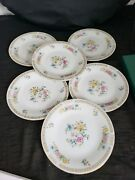 Lot 4 Liling Fine China Ling Rose Salad Dessert Plates 7.5in Floral Butterfly