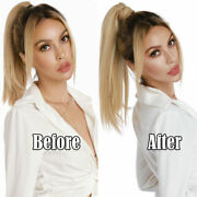 Thick Long Straight Ponytail Remy Human Hair Claw/jaw Clip On Ponytail Extension