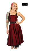 Lucky 13 The Night In The City Red Dress Black Polka Dot Pine Up Dress