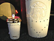 Starbucks New 2015 Crystals Tumbler + Ornament + Red Shiny Gift Boxes