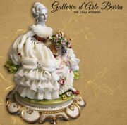 Porcelain Capodimonte Lady With Basket Of Fiori. Dress Of Lace In Porcelain