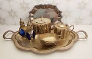 Silver Tea Set Saltandpepper Shakers, Caddy, Milk Jug, Sauce Boat And 2 Trays