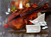 Still Life With Violin Painting Oil Still Life On Canvas Wall Art Signed Author